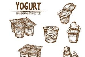 Bundle of 5 yogurt vector set