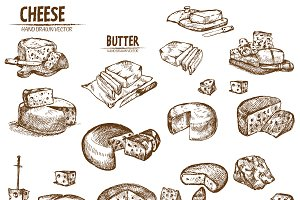 Bundle of 20 cheese vector set 1