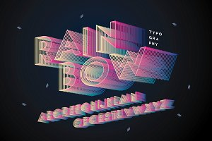 rainbow typography design vector