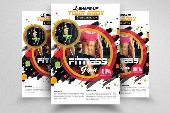 Fitness Gym PSD Flyer Templates in Flyer Templates