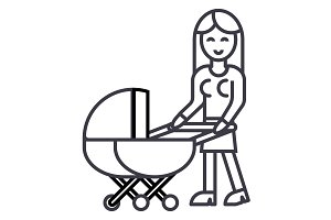 woman with baby stroller vector line icon, sign, illustration on background, editable strokes