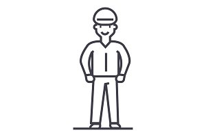 worker vector line icon, sign, illustration on background, editable strokes