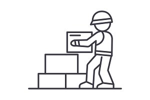 worker builder taking bricks vector line icon, sign, illustration on background, editable strokes