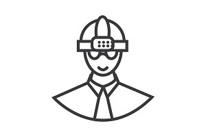 worker with helmet vector line icon, sign, illustration on background, editable strokes