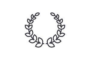 wreath vector line icon, sign, illustration on background, editable strokes
