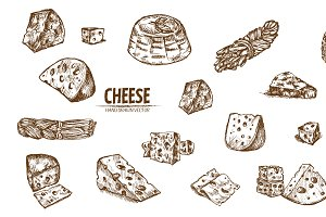 Bundle of 20 cheese vector set 2