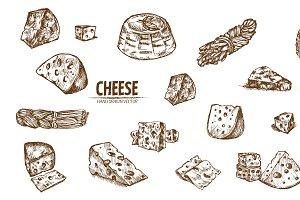 Bundle of 20 cheese vector set 2