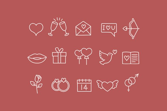 15 Valentines Doodle Icons