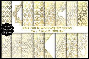 Gold Foil & White Digital Papers