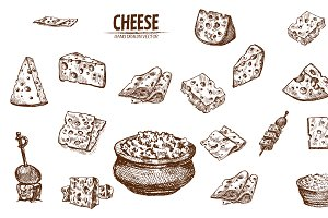 Bundle of 20 cheese vector set 3