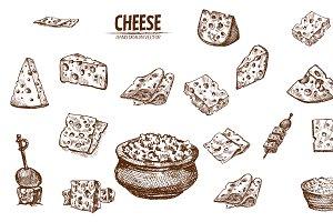 Bundle of 20 cheese vector set 3