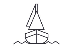 yacht, front veiw vector line icon, sign, illustration on background, editable strokes