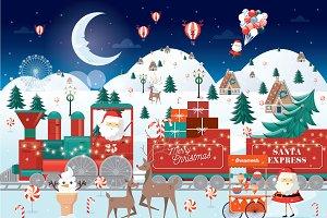 christmas train illustration/vector