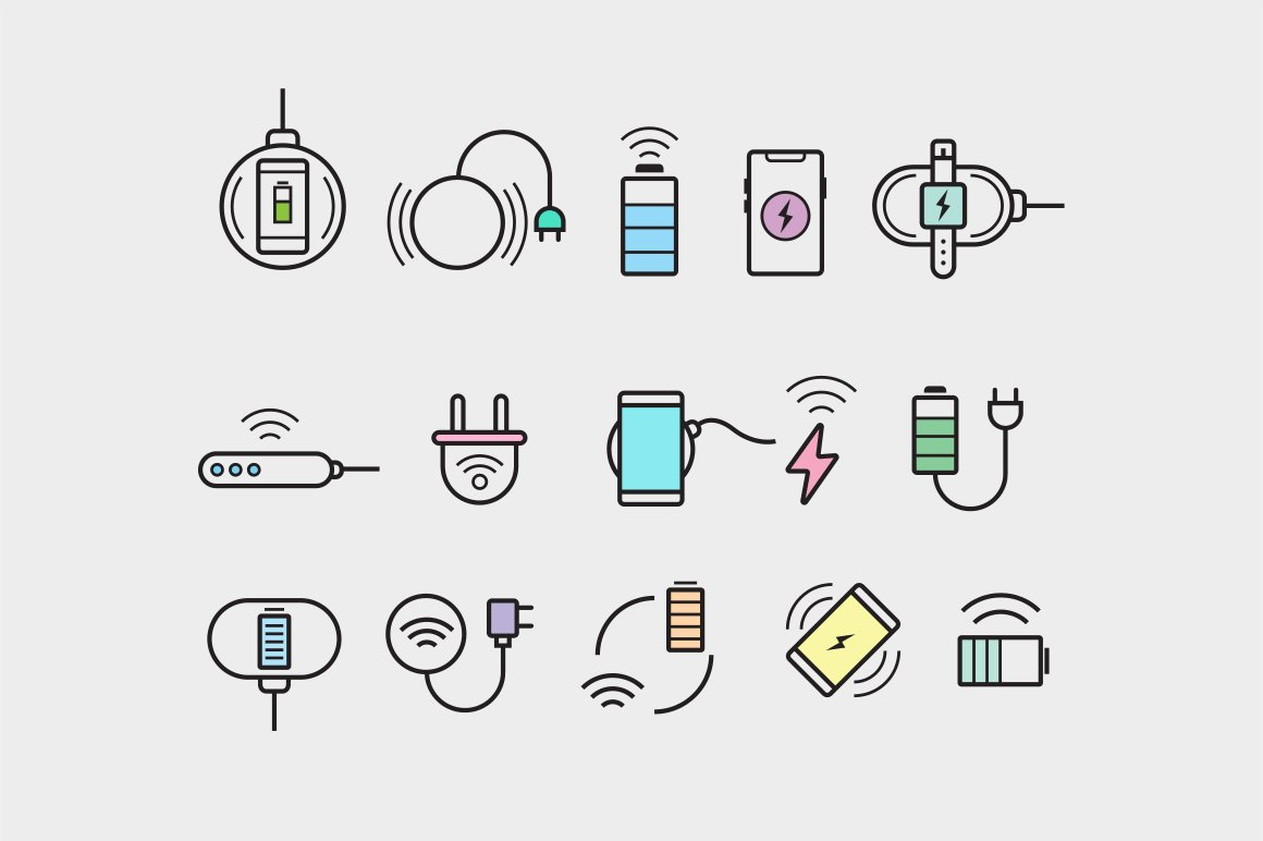 15 Wireless Charging Icons ~ Icons ~ Creative Market