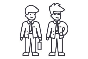 young businessmen vector line icon, sign, illustration on background, editable strokes
