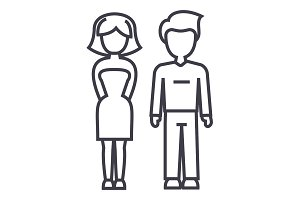 young successful couple, man and woman vector line icon, sign, illustration on background, editable strokes