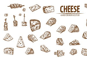 Bundle of 20 cheese vector set 5