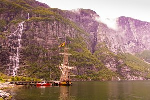 Old viking boat in Lysebotn