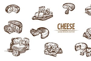 Bundle of 10 cheese vector set 6