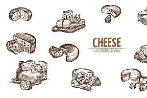 Bundle of 10 cheese vector set 6