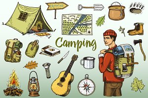 Camping Set, Traveling Engraved