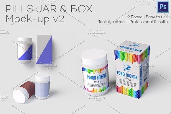 Pills Jar & Box Mock-up v2-Graphicriver中文最全的素材分享平台