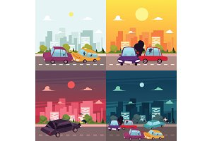 vector flat cartoon car accident scene