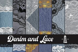 Jeans And Lace Digital Paper