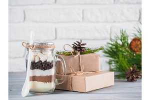 Hot chocolate mix in mason jar and gift boxes