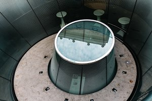 Detail of skylight in modern architecture museum