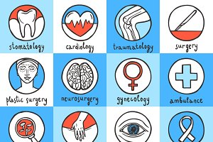 Medical sketch icon set