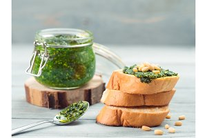 baguette bread with fresh pesto