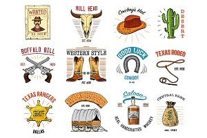 Cowboy set badges. Wild west, rodeo or indians with lasso. hat and gun, sheriff star, boot with horseshoe. engraved hand drawn in old sketch or and vintage style. and labels for prints. logo or emblem