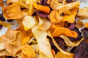 Bowl of Healthy Snack from Vegetable Chips, Crisps