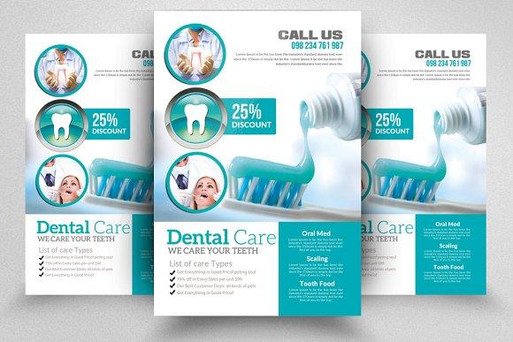 dentist flyer templates flyer templates creative market