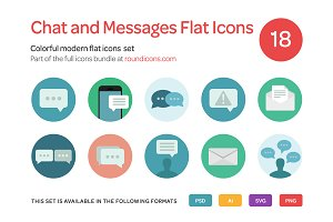 Chat and Messages Flat Icons Set