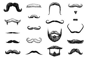 Mustaches, Beards Set. Barbershop.