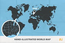 (Ai) Hand illustrated map of World