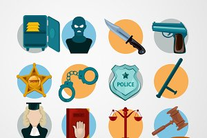 Law judgment and police icons