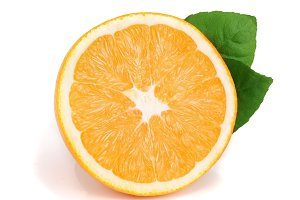 Orange half slice with leafs isolated on the white background
