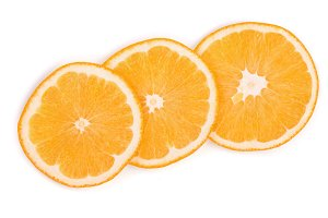 Slices of orange isolated on white background. Flat lay, top view. Fruit composition