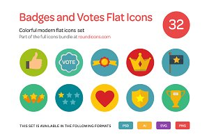 Badges and Votes Flat Icons Set