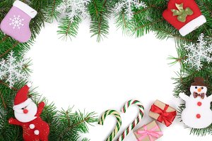 Christmas background decorated with snowflakes isolated on white with copy space for your text. Top view.