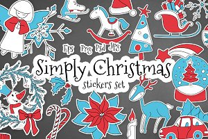 Simply Christmas vector stickers set