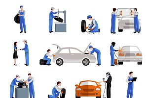 Auto mechanic icons set