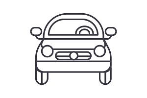 car vehicle, front view vector line icon, sign, illustration on background, editable strokes