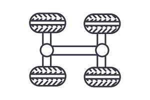 chassis, four wheels vector line icon, sign, illustration on background, editable strokes