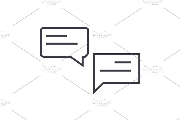 chats vector line icon, sign, illustration on background, editable strokes