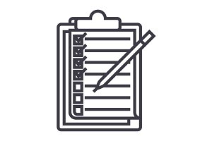 checklist,to do list vector line icon, sign, illustration on background, editable strokes