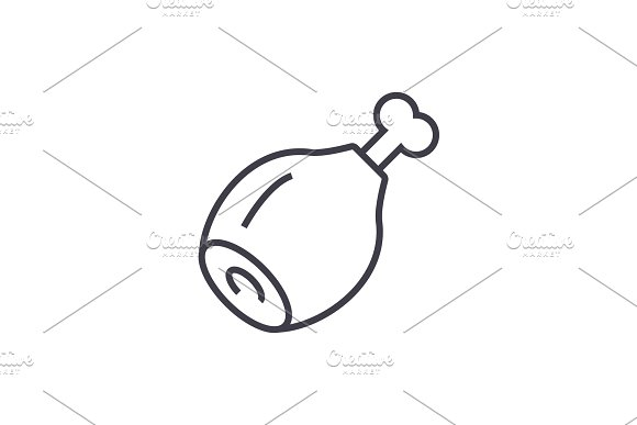 Chicken Meat Vector Line Icon Sign Illustration On Background Editable Strokes